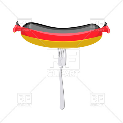 400x400 Sausage With Germany Flag On Fork Royalty Free Vector Clip Art