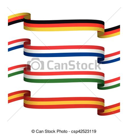 450x470 Vector Set Ribbons In The Colors Of Germany, France, Italy