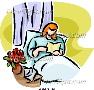 300x290 Woman Reading A Card In Her Hospital Bed Clip Art