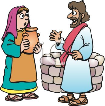 346x350 Royalty Free Clip Art Image Biblical Man And Woman Speaking By A Well