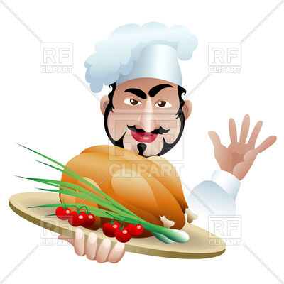 400x400 Satisfied Chief Cook With Well Cooked Dish Royalty Free Vector