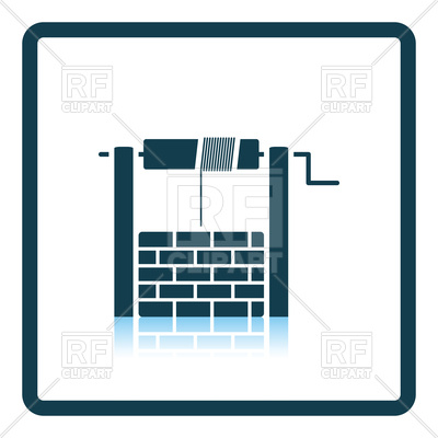 400x400 Well Icon. Shadow Reflection Design. Royalty Free Vector Clip Art