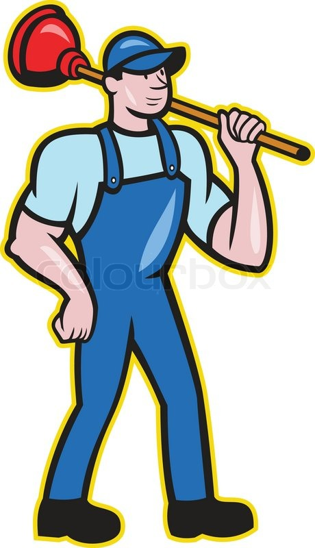 460x800 Illustration Of A Plumber Holding Plunger Standing Facing Front