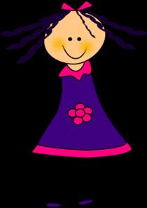 210x297 Purple Dress Girl Clip Art