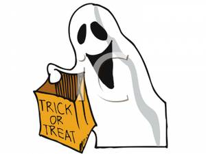 300x225 A Trick Or Treating Ghost Clip Art Image