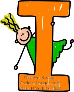 243x300 Clipart Image Of A Happy Little Girl Climbing Over A Giant Letter I