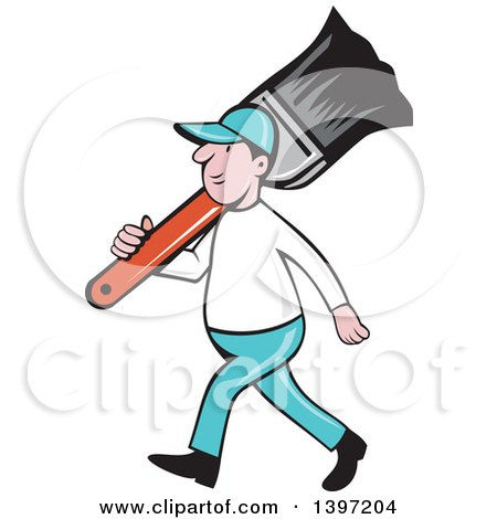 450x470 Clipart Of Retro Cartoon White Male House Painter Carrying