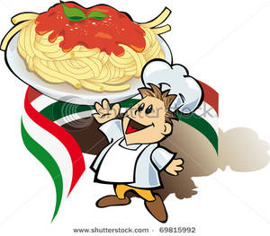 300x263 Italian Cook With Giant Spaghetti Plate Clip Art Image