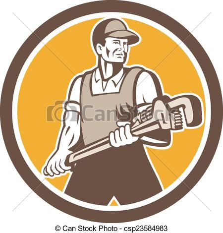 450x470 Plumber Holding Giant Wrench Retro Circle. Illustration