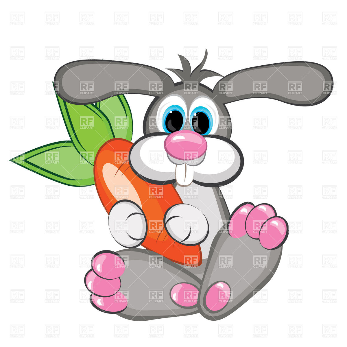 1200x1200 Rabbit With A Giant Carrot Royalty Free Vector Clip Art Image