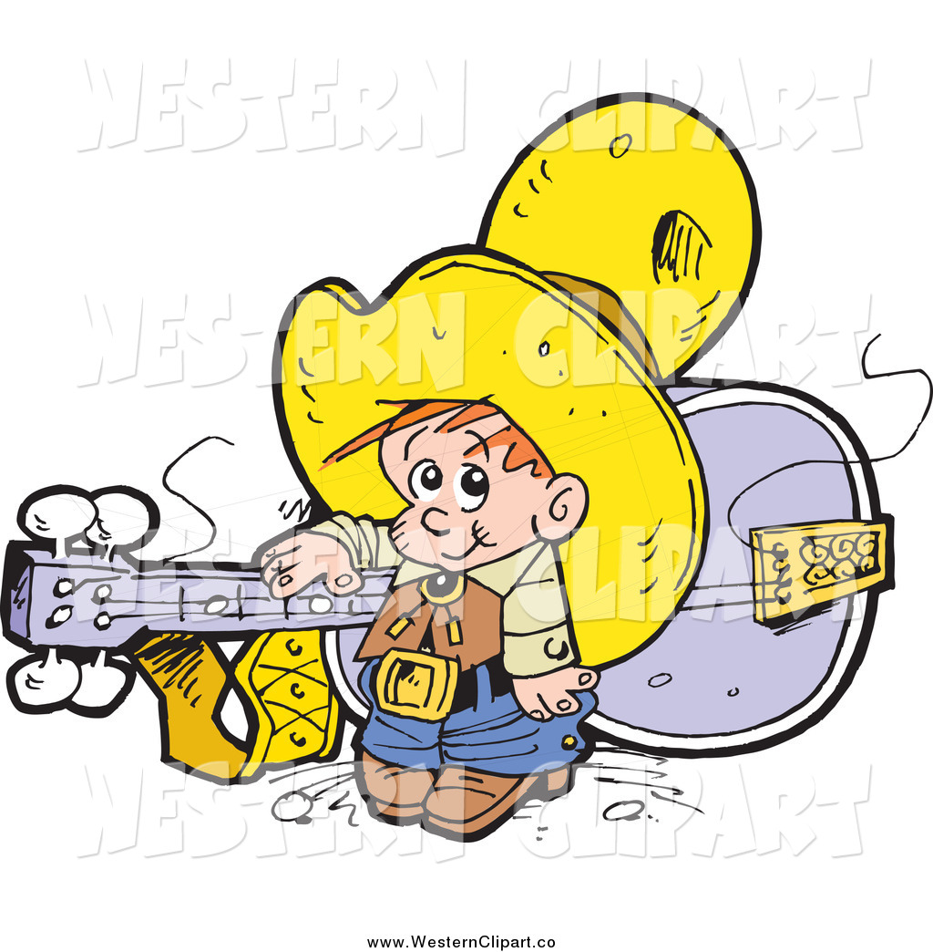 1024x1044 Vector Clip Art Of A Little White Cowboy And Giant Guitar By