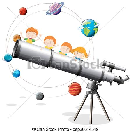 450x452 Childrean And Giant Telescope Illustration Eps Vector