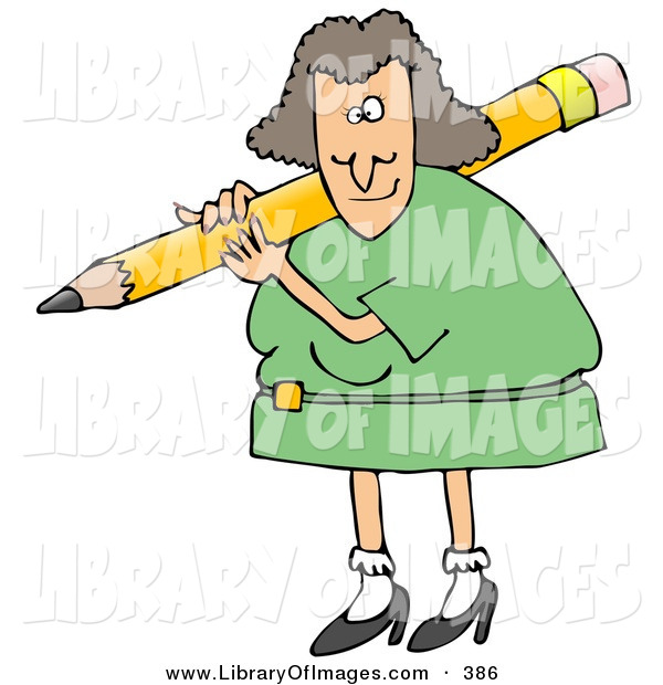 600x620 Clip Art Of A Caucasian Female Teacher In A Green Dress, Carrying