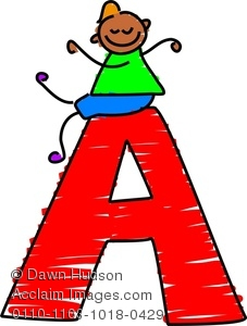 227x300 Clipart Image Of Happy Little Boy Climbing Over Giant Letter