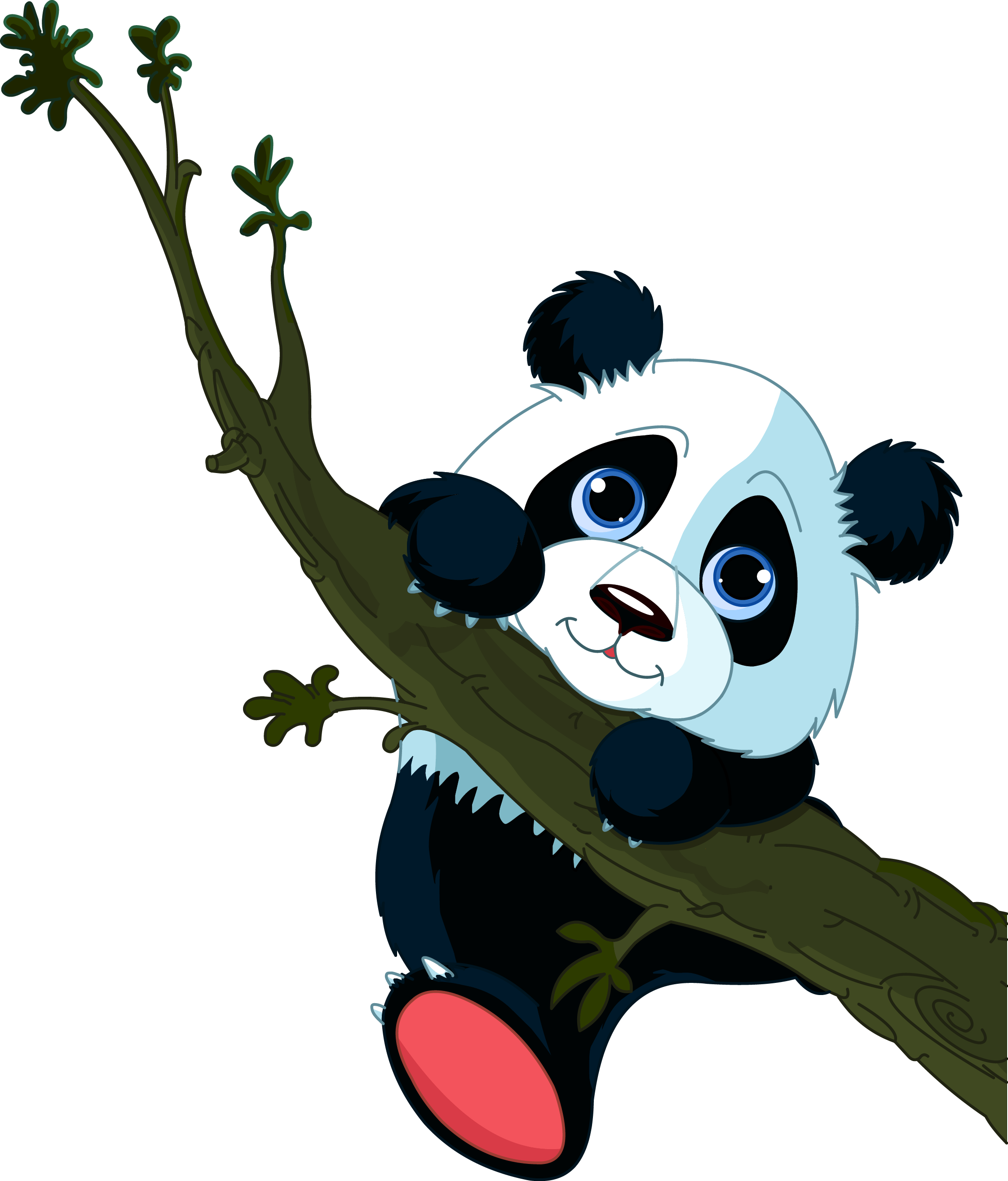 2244x2629 Giant Panda Tree Climbing Cuteness Clip Art