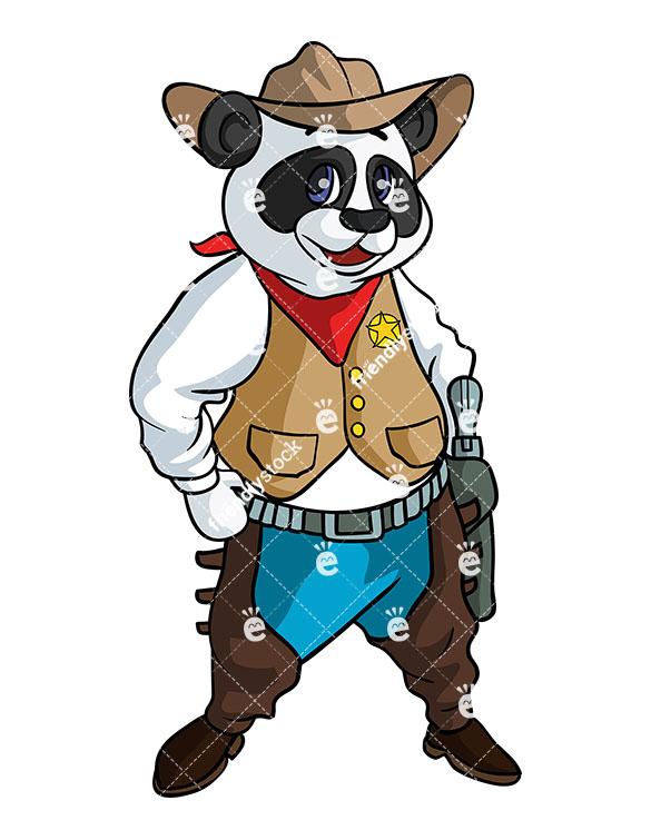 585x755 Pandbear Cowboy Vector Cartoon Clipart