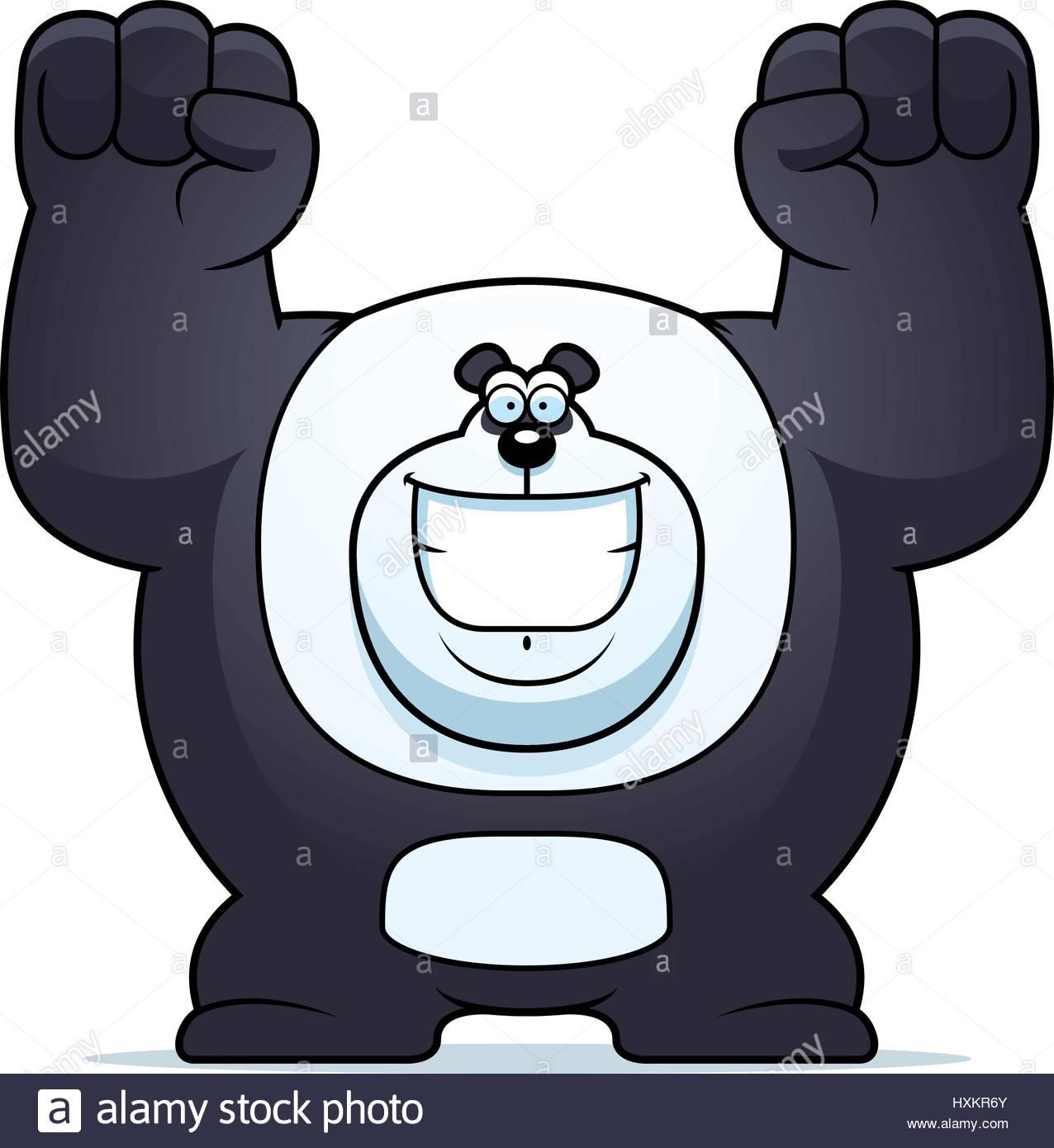 1276x1390 A Cartoon Illustration Of A Panda Bear Celebrating Stock Vector
