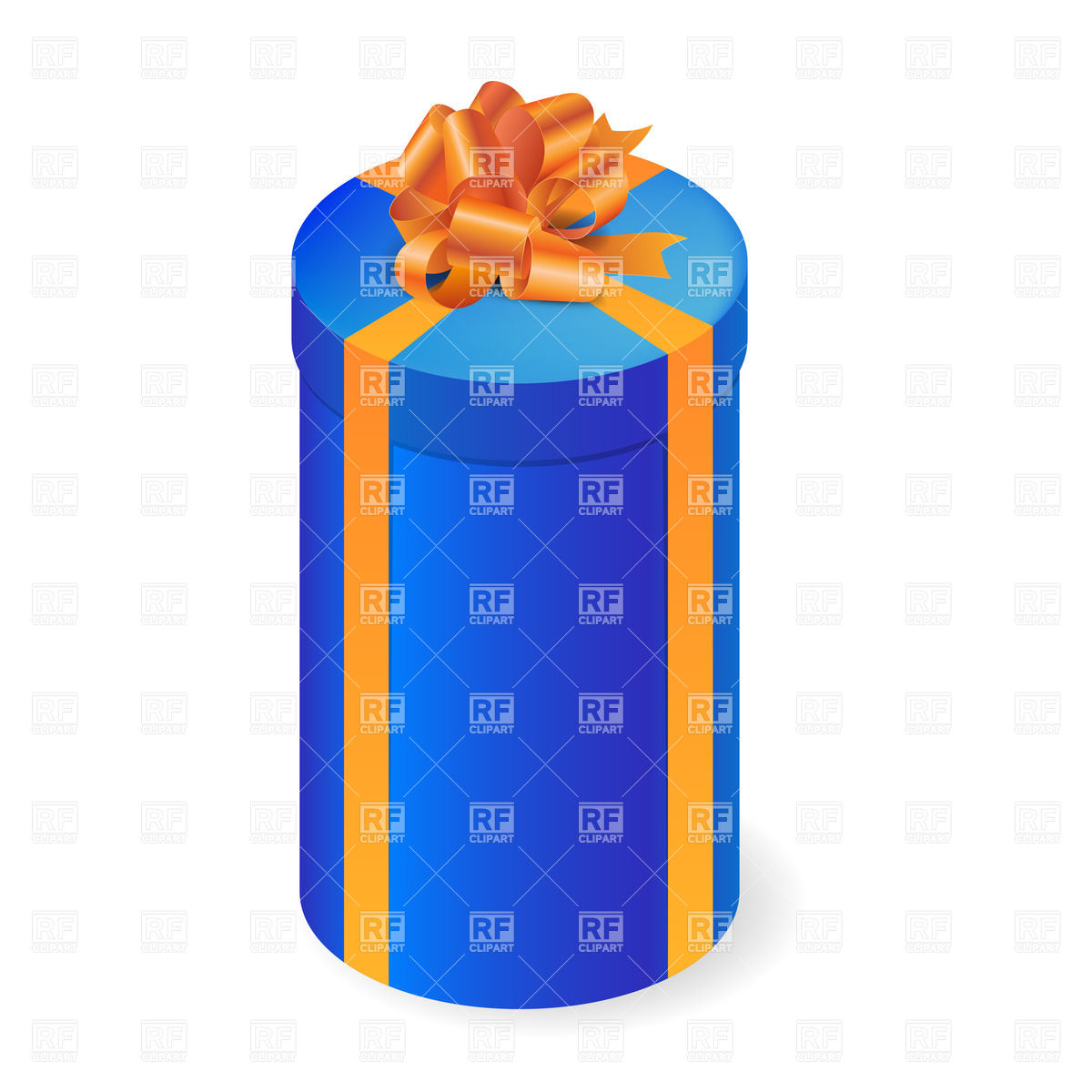 1200x1200 Round Tall Gift Box With Orange Bow Royalty Free Vector Clip Art