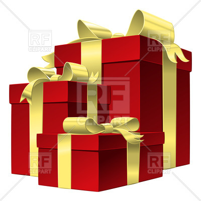 400x400 Set Of Red Gift Boxes With Gold Ribbons And Bows Royalty Free