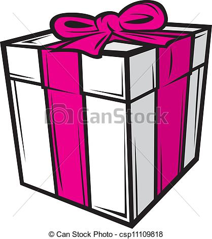 418x470 White Gift Box With Pink Ribbon Vector Clip Art