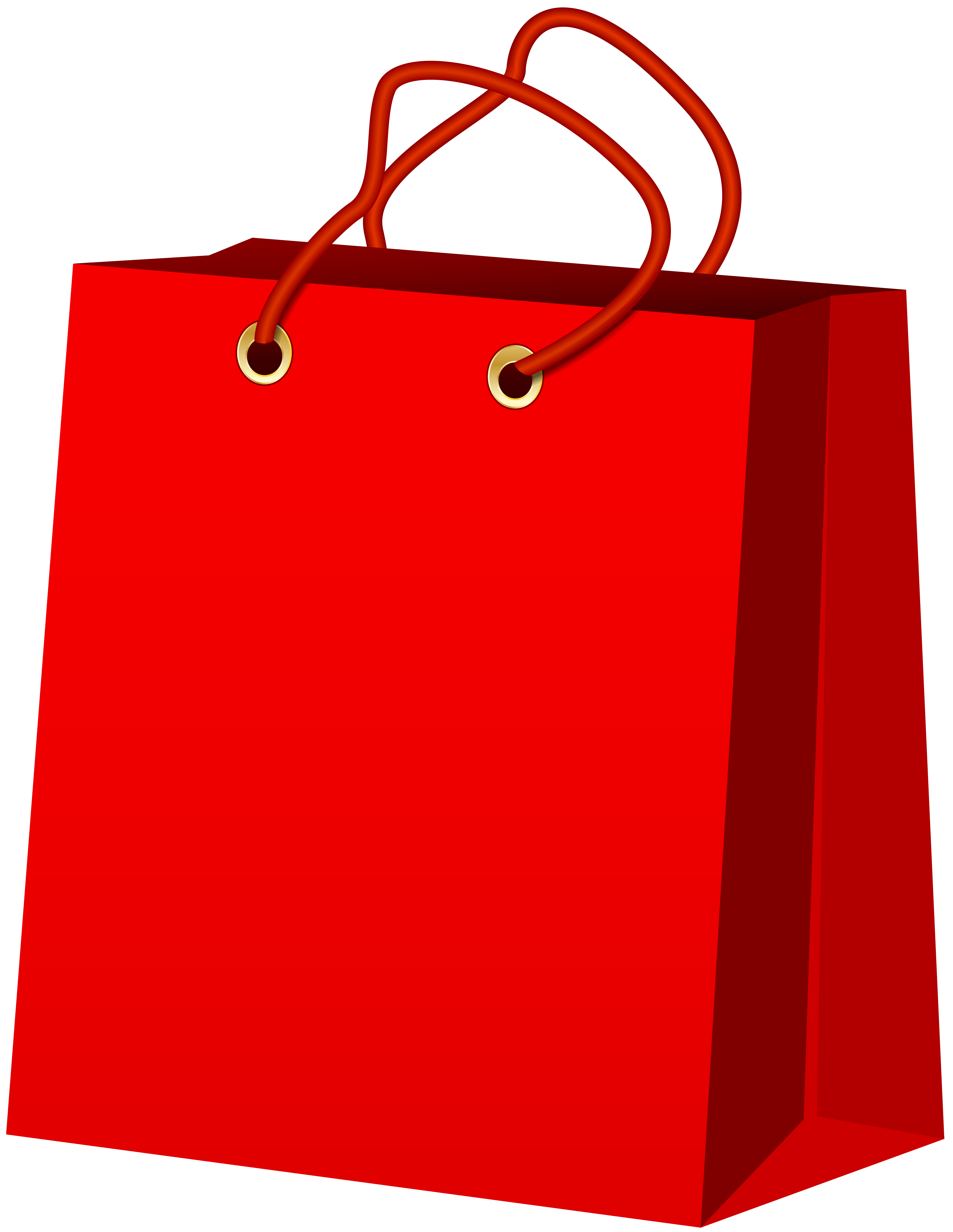 6191x8000 Red Gift Bag Png Clip Art