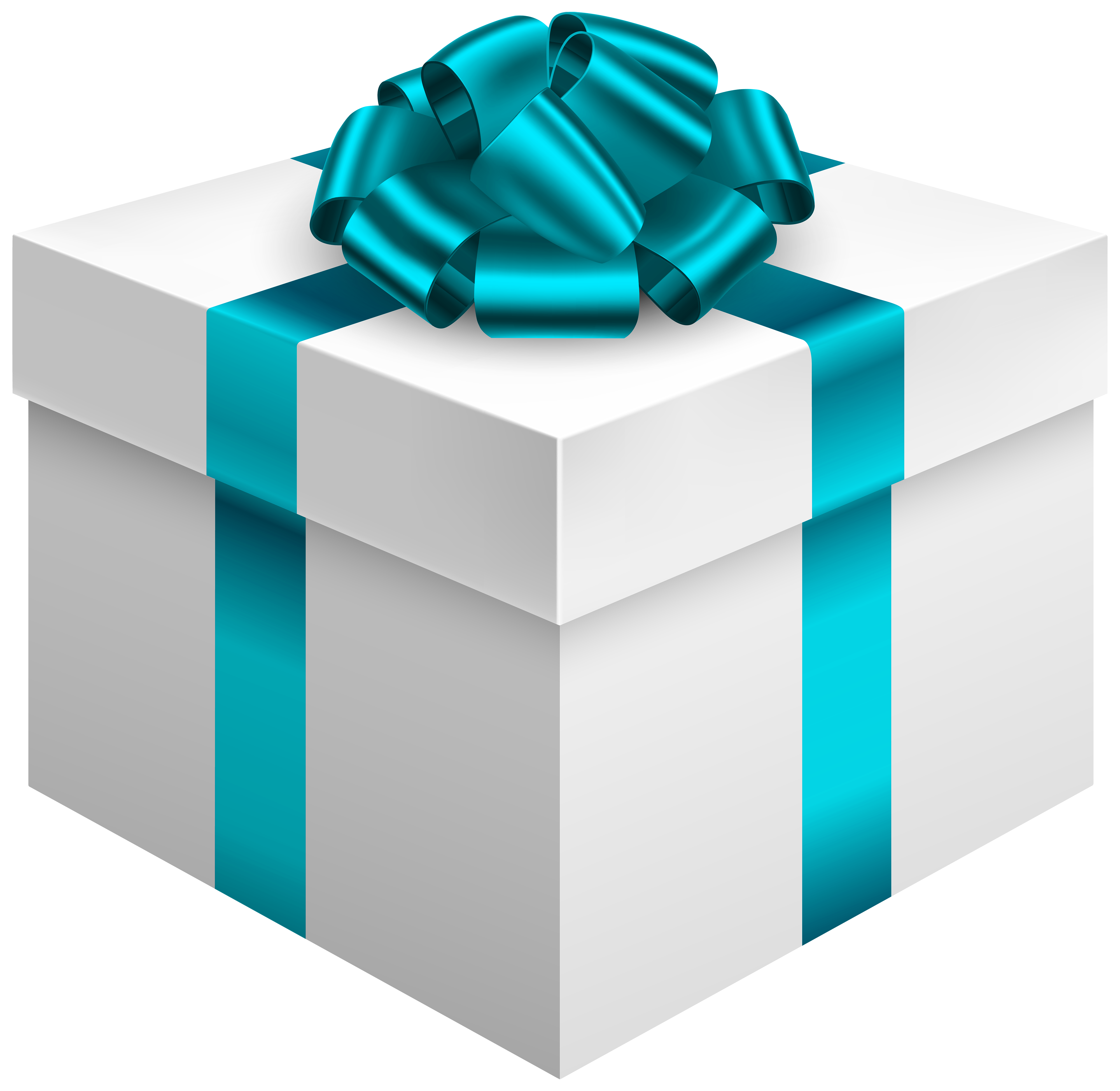 4000x3895 White Gift Box With Blue Bow Png Clipart