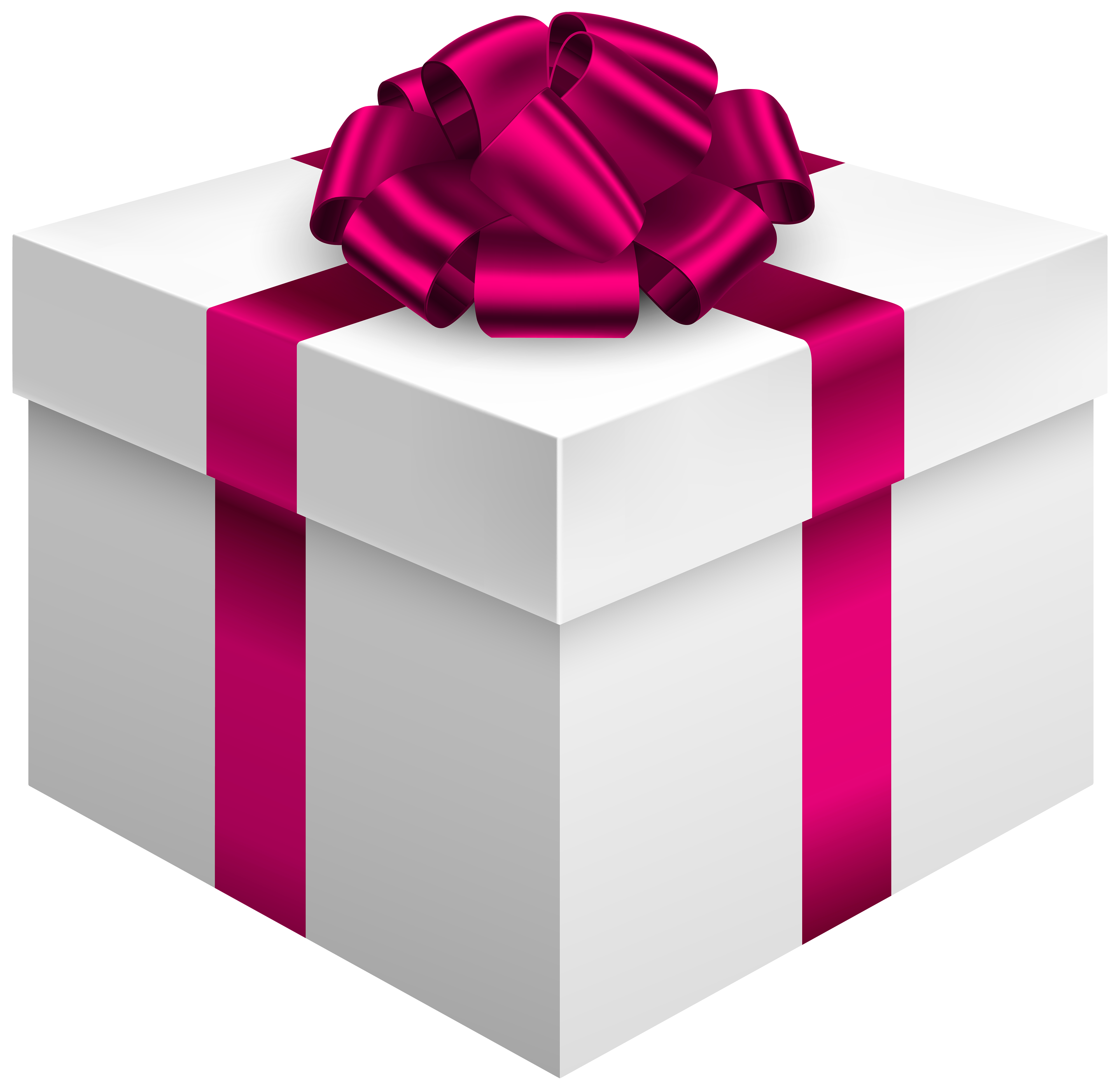 4000x3895 White Gift Box With Pink Bow Png Clipart