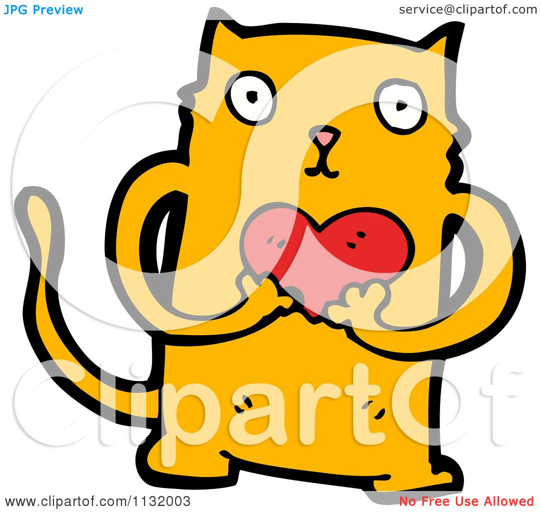 1080x1024 Cartoon Of A Ginger Kitty Cat Holding A Heart
