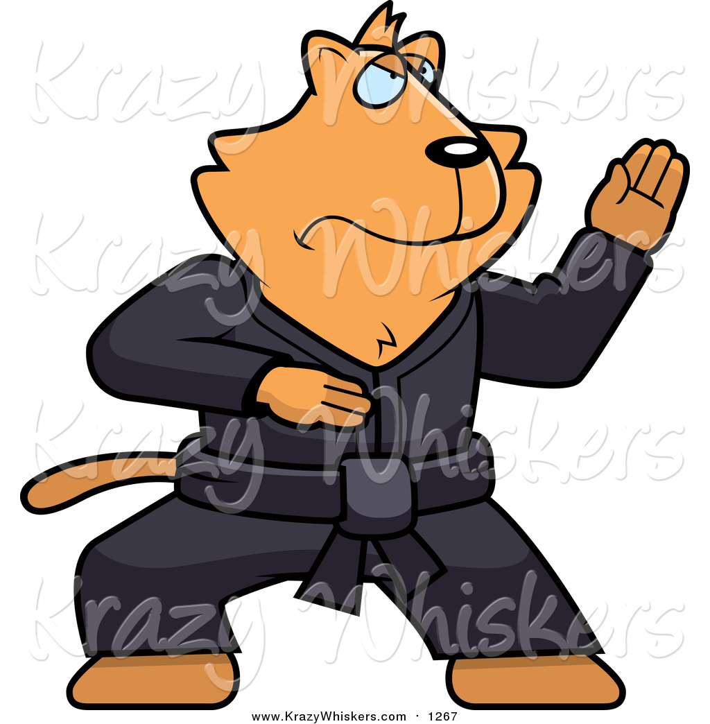 1024x1044 Critter Clipart Of A Black Belt Ginger Karate Cat By Cory Thoman