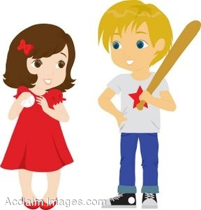 288x300 Clipart Illustration Of A Boy And Girl With Baseball Gear