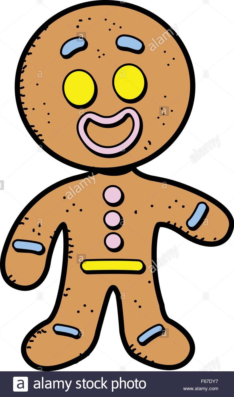 820x1390 Happy Smiling Cartoon Gingerbread Man Cookie Stock Vector Art