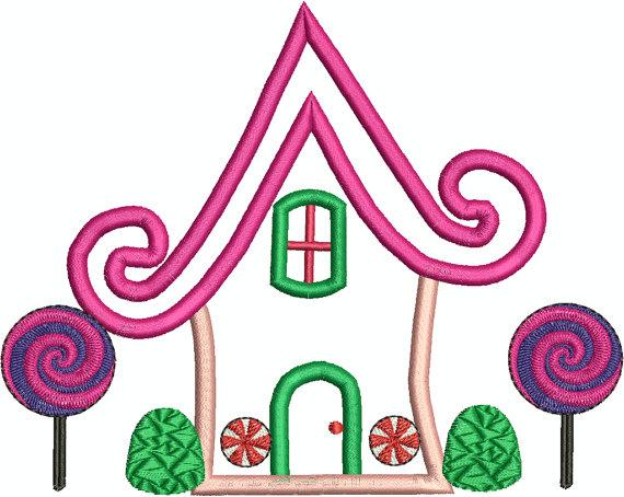 570x454 Gingerbread House, Candyland House Applique, House 3, Gum Drops