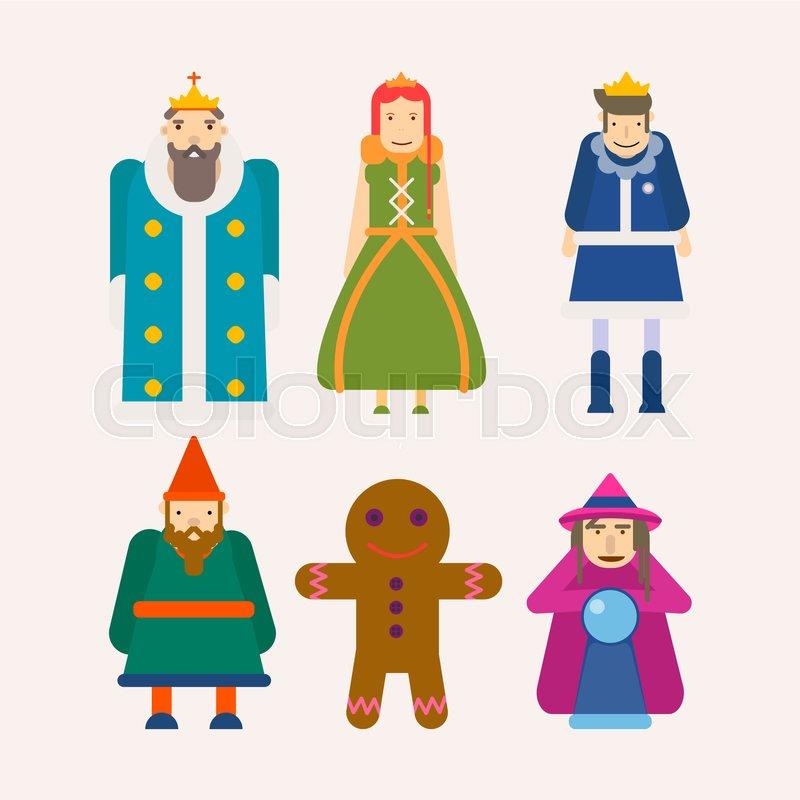 800x800 Fairy Tale Popular Cartoon Characters Set. Of Magic Fairytale King