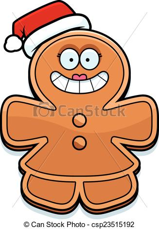 327x470 Christmas Cartoon Gingerbread Woman. A Cartoon Illustration Eps
