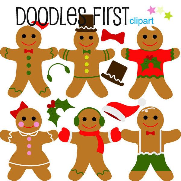 600x600 Winter Christmas Holiday Gingerbread Men Digital Clip Art