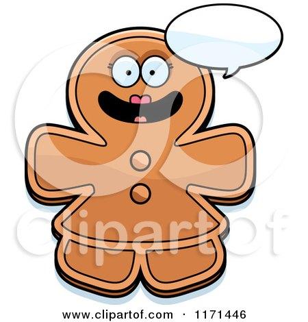 450x470 Cartoon Clipart Of Christmas Gingerbread Woman Mascot Wearing
