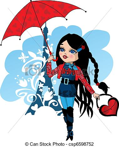 380x470 Nice French Girl With Red Umbrella Vector Illustration
