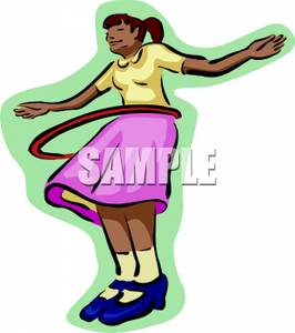 266x300 A Girl Playing With A Hula Hoop Clip Art Image