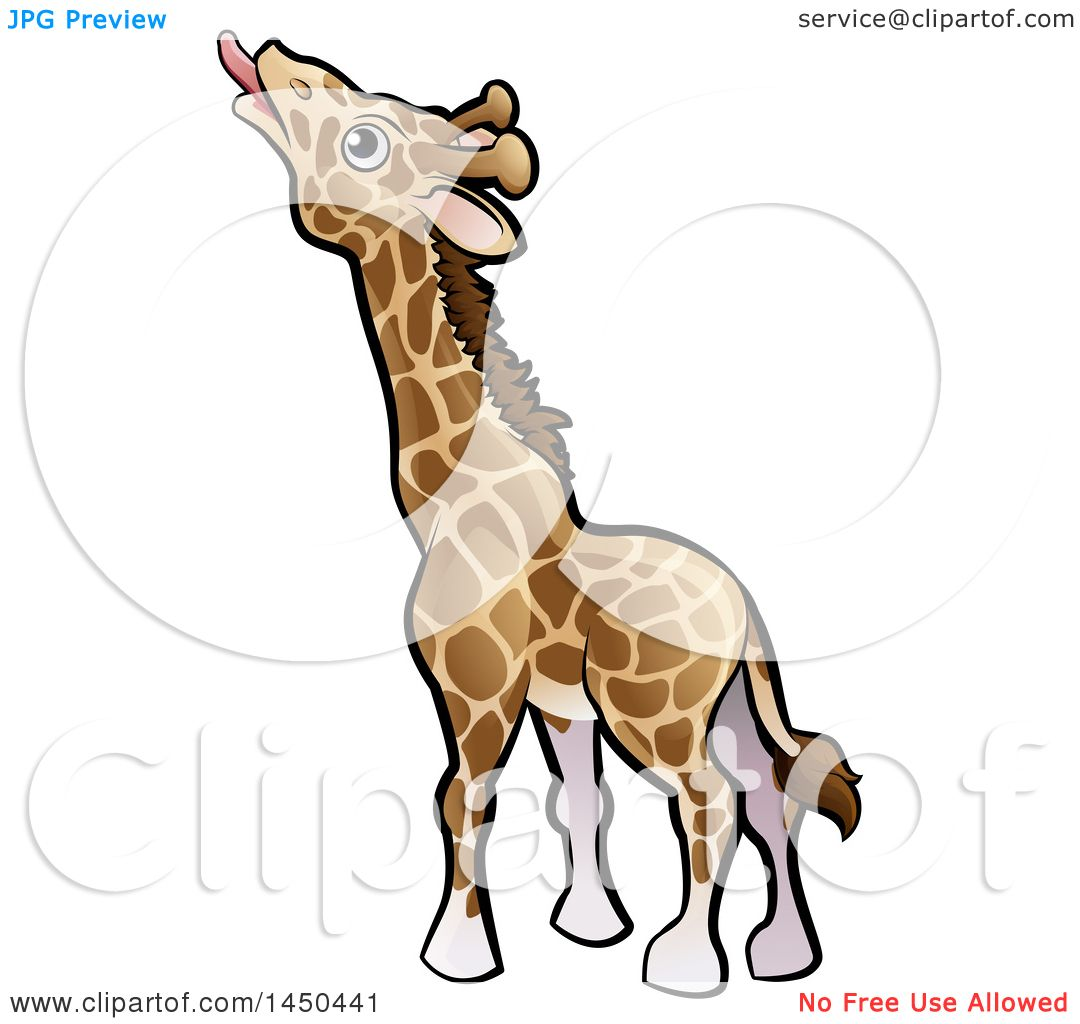 1080x1024 Clipart Graphic Of A Cartoon Giraffe Reaching With His Tongue