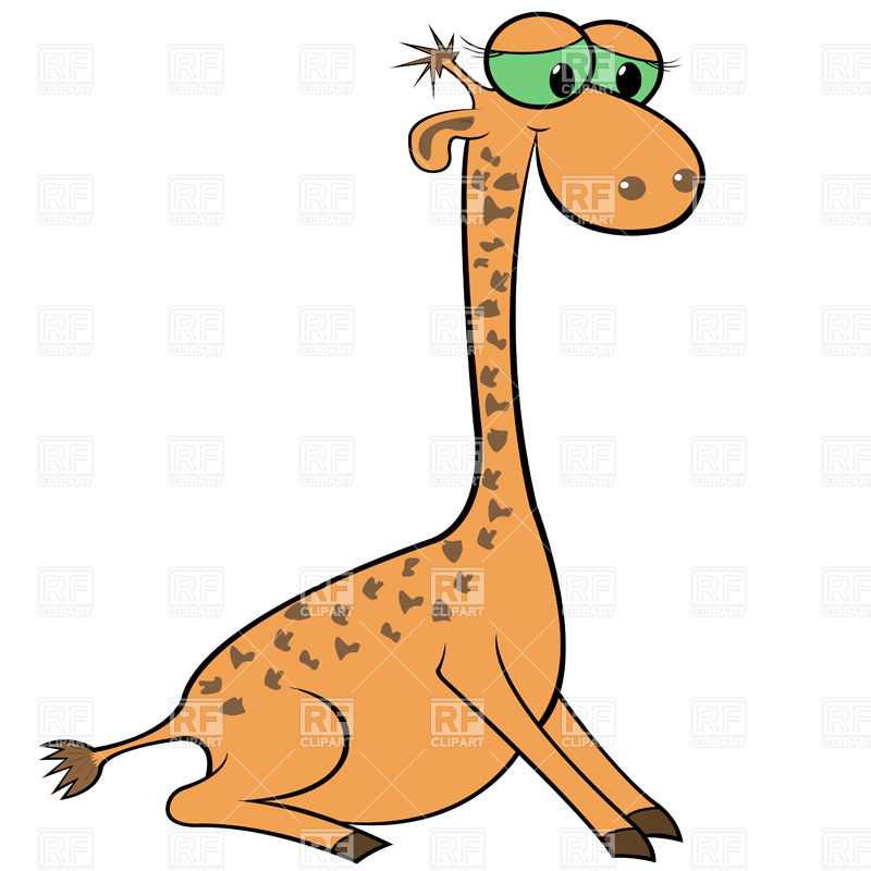 800x800 Sad Cartoon Giraffe Royalty Free Vector Clip Art Image