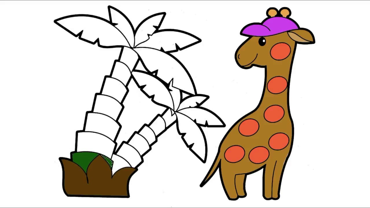 1280x720 Drawing And Coloring Giraffe For Kids Coloring Books Learn Colors