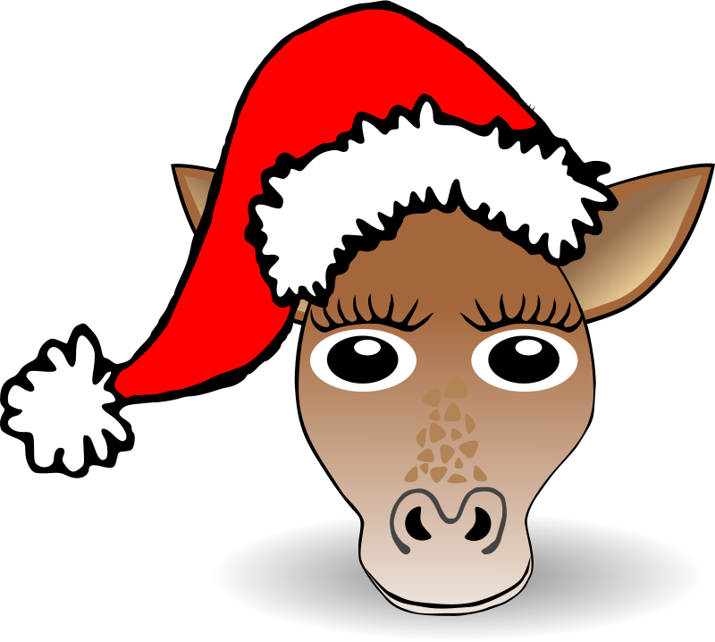 800x718 Free Clipart Funny Giraffe Face Cartoon With Santa Claus Hat