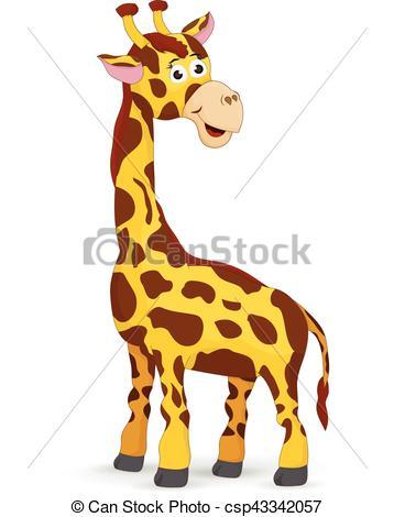 358x470 Cartoon Cute Giraffe Isolated. Illustration Cartoon Giraffe