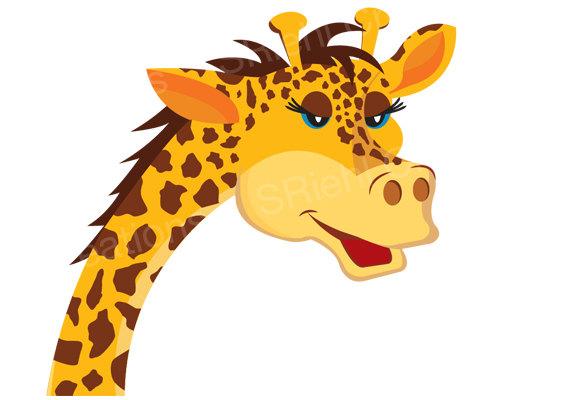 570x400 Giraffe Clipart Jungle Safari Baby Shower Instant Download