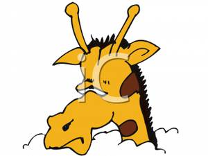 300x225 A Giraffe With Its Head In The Cloud Clip Art Image