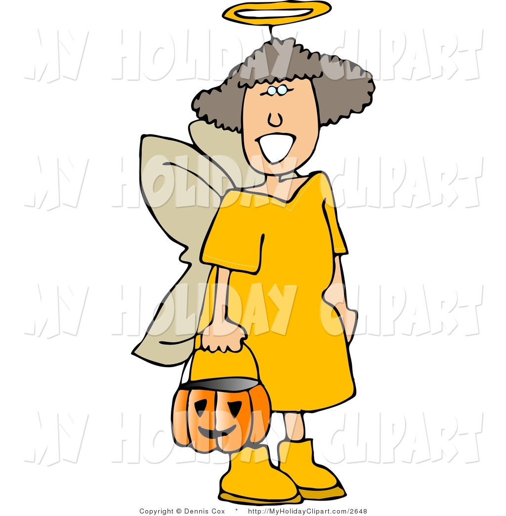 1024x1044 Clip Art Of A Young Girl Wearing Halloween Angel Costume While