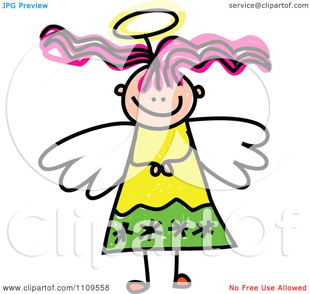 1080x1024 Clipart Stick Angel Girl With Pink Hair