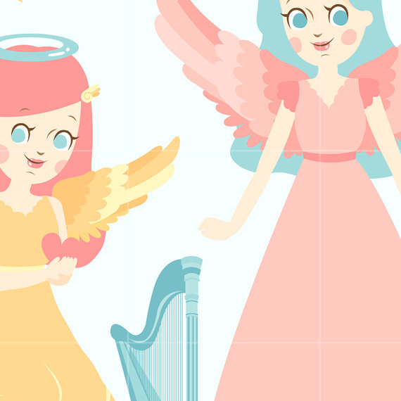 570x570 Angel Digital Vector Clip Art Heaven Clipart Design Illustration