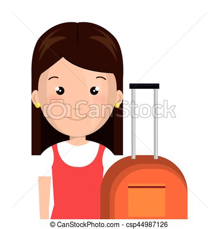 450x470 Half Body Cartoon Girl With Cute Dress And Travel Luggage