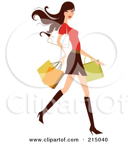 450x470 Royalty Free (Rf) Clipart Illustration Of Woman Shopping In